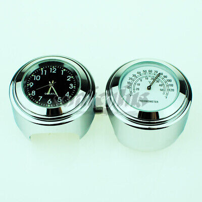 "1"" 7/8"" Motorcycle Handlebar Waterproof Dial Clock Temperature Meter Thermometer"