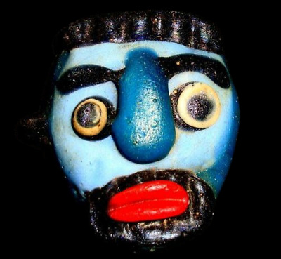 Ancient Phoenician Blue Face Mosaic Glass Bead Beard Man Pendant Rare 732