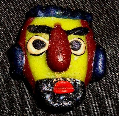 Ancient  Phoenician Yellow Face Head Mosaic Glass Bead Pendant Rare 733