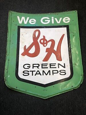 Huge- We Give S&H Green Stamp Metal Embossed Sign