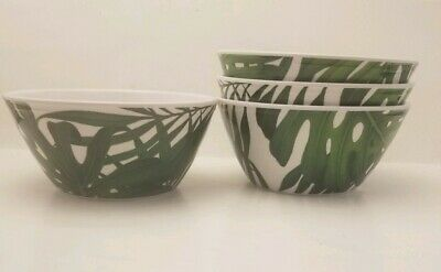 Tommy Bahama Tropical Palm Leaves Melamine Soup Salad Side Cereal Bowls Set of 4
