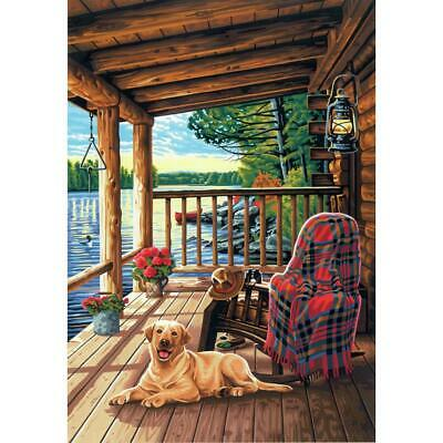 """PAINTWORKS Paint by Number Kit LOG CABIN PORCH 20"""" x 14"""" DIMENSIONS"""