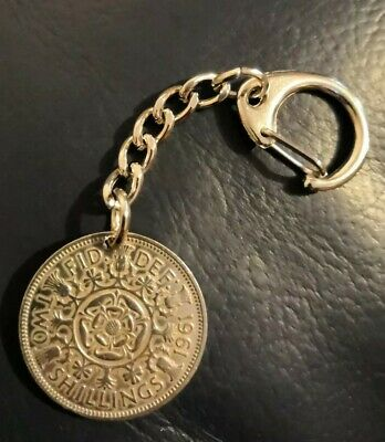 Two Shillings Coin Key Ring - Florin Key Ring -  Queen Elizabeth II - Keyring