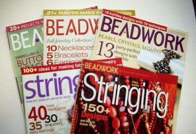 Lot of 3 Beadwork and 2 Stringing Magazines  patterns instruction
