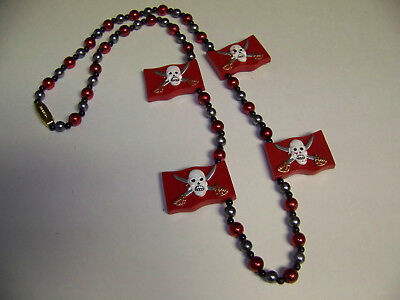 Mardi Gras Beads Red Flags Skull And Cross Swords New