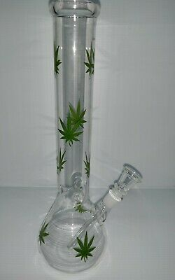 "Hookah Water Pipe Bong Glass 12"" Inch ""CLEAR with Multi GREEN LEAF"""