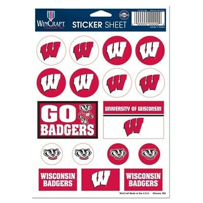 Wisconsin Badgers Vinyl Sticker Sheet 17 Decals 5x7 Inches Free Shipping
