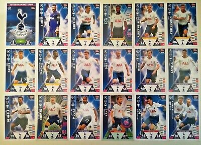 Match Attax Uefa Champions League 2018/19 Full Set Of All 18 Tottenham Hotspur