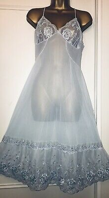 "Stunning Vintage Incredibly Sheer Blue Nylon Lacy Full Slip 38"" Unused Box"