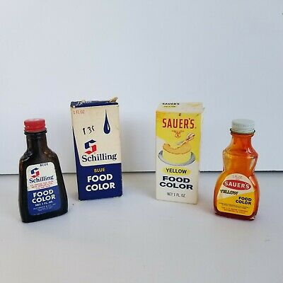 SAUER\'S, SCHILLING FOOD Coloring Bottles Blue,Yellow w Boxes Empty  McCormick VTG