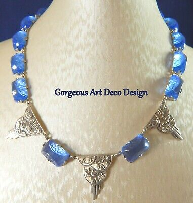 Private Collection Stunning Art Deco Designed Blue Frosted Art Glass Necklace