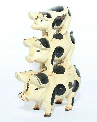 """Cast Iron Pigs Black and White 3 Stacked On Top of Each Other 7"""" Vintage"""