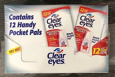 12 Pack CLEAR EYES DROPS REDNESS RELIEF 0.2 OZ .6 ML 12hr Soothing + Dry + Burn