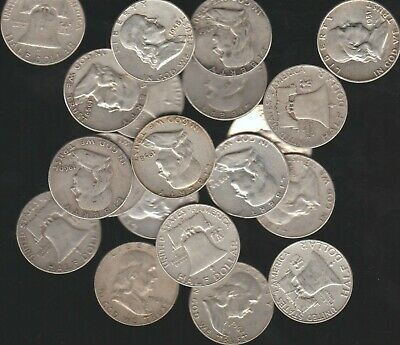 1 Roll (20 Coins) Franklin Half Dollars, Mixed Date, $10 Face 90% Silver