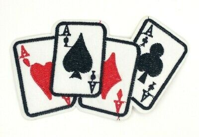 us seller 4 Aces Hand Cards Player Poker Patch Iron-On/Sew-On Embroidered (1577)