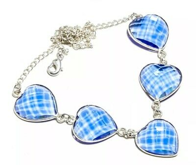 """Faceted Tanzanite Quartz Gemstone Silver Plated Jewelery Necklace 16-18"""""""