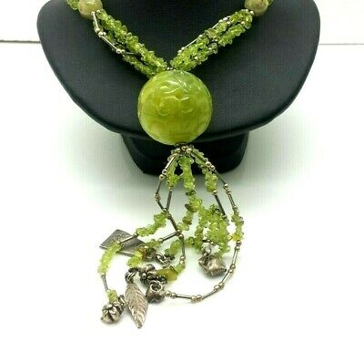 "Fine Jade Beads Large Sterling Silver 925 Necklace 89g 23.5"" WEN416"