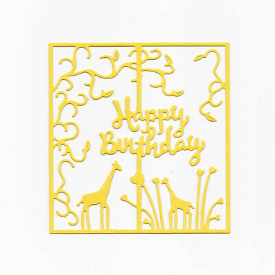 Happy Birthday Metal Cutting Dies Square Lace Flower Giraffe Die Cut DIY Cards