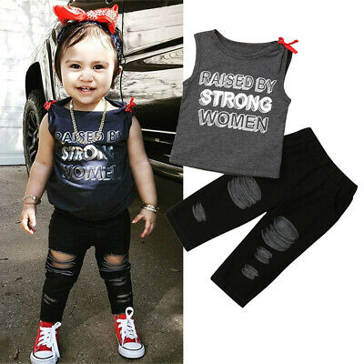 AU Toddler Kid Baby Girl Letter Top Vest Denim Pants Leggings Outfit Clothes Set