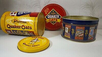 2 Vintage Limited Edition QUAKER OATS Tins 1983 and 1984 Oatmeal