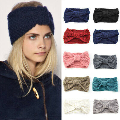 Women's Knitted Ear Warmer Knot Headband Crochet Bow Wool Hat Hairband HOT AU