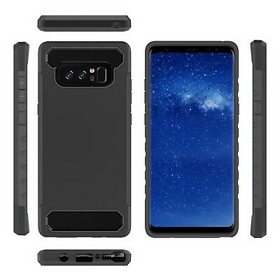 For SAMSUNG NOTE 9 8 Drop Proof Silicone Rugged Non-slip Case Carbon Fiber Cover