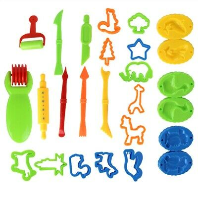 26pcs Kids Play Dough Tools Set Doh Clay Modelling Rolling Pins Cutters Pin