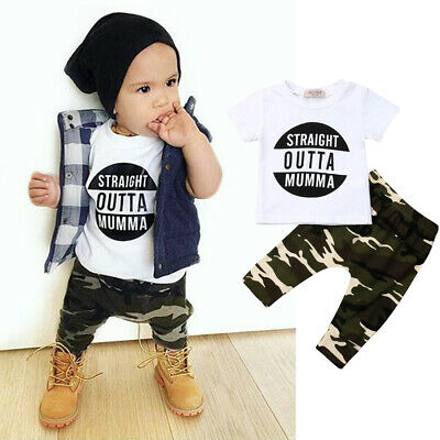 AU Newborn Toddler Kid Baby Boy Summer Tops T-Shirt Camouflage Long Pants Outfit