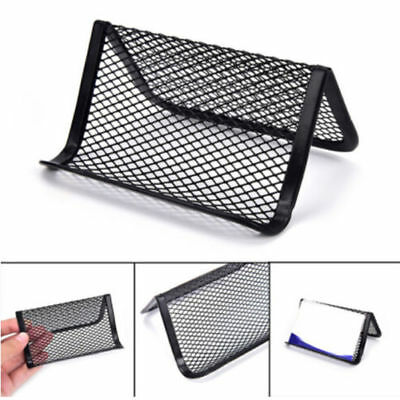 Metal Wire Mesh Business Card Display Holder Desk Accessories Useful Black FB