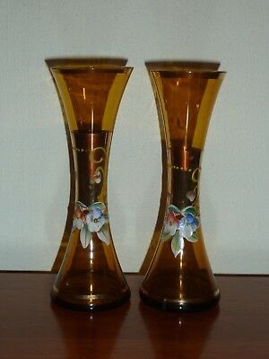 MURANO VENITION GLASS  1960s PAIR OF BEAUTIFUL AMBER VASES WITH ENAMEL FLOWERS