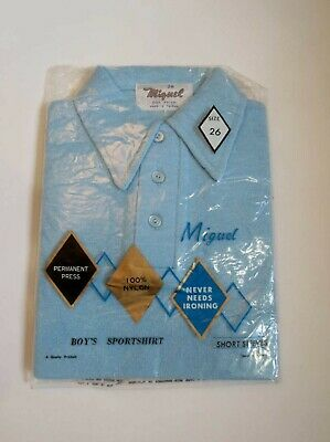 New Old Stock - Vintage Blue Boys Polo Shirt in Original Packaging - Chest 66