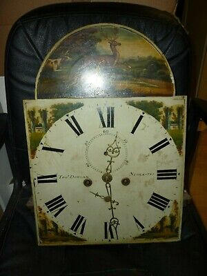 Antique 8 Day Longcase Clock Movement Tho Duncan Newcastl 19ins By 13.25ins