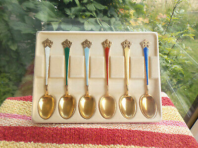 Sterling Silver Gilt Guilloche Demitasse Coffee Spoons, Theo. Olsens ( Norway )