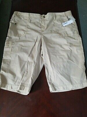 WOMANS SONOMA CASUAL CARGO CAPRIS SIZE 22W or 24W NWT TAN COMFORT WAIST STRETCH