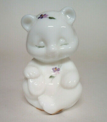 "Fenton Glass White Milk Glass Bear Hand Painted ""Lilacs On Milk Glass"" #5151 PJ"
