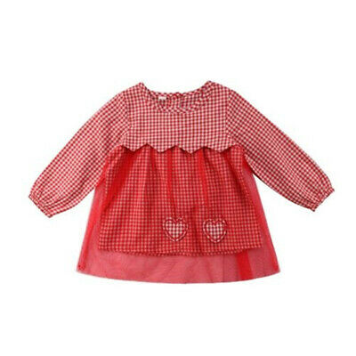 Autumn Kids Dress Long Sleeved Plaid Tulle Patchwork Dresses Clothing Girls Wear