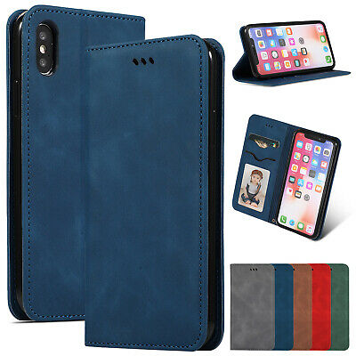 For iPhone 6s 7 8 Plus XS Max XR Retro Case Magnet Leather Card Flip Stand Cover