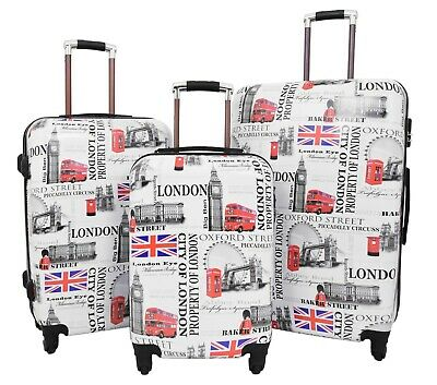 City of London 4 Wheel Suitcases Lightweight Luggage Built-in Lock Travel Bags