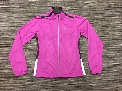 Nike Womens Long Sleeve Lightweight Jacket Fucsia Pink Brown White S Mint Cond