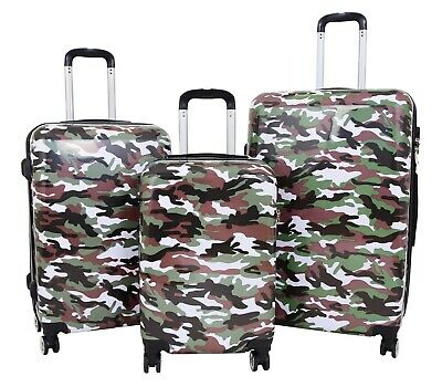 Camouflage Army Print Suitcases Robust 4 Wheel Luggage Built-in Lock Travel Bags