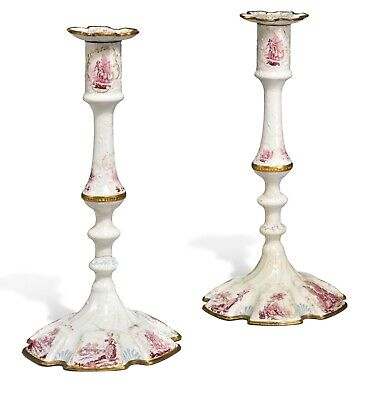 Antique Pair of South Staffordshire Enamel Candlesticks.
