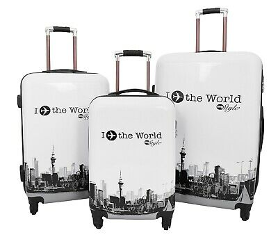 Fly The World Printed Suitcases Robust 4 Wheel Luggage Built-in Lock Travel Bags