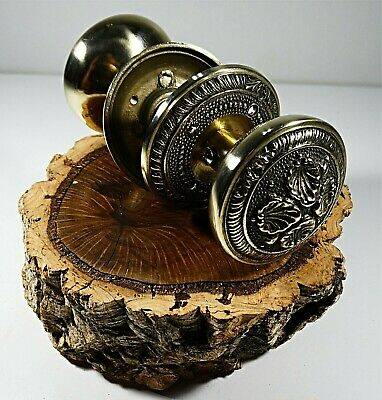 Antique Solid Brass Door Knob Handle Set With Victorian Style Ornate # 4