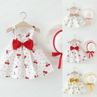 Toddler Baby Kids Girls Sleeveless Cherry Dot Princess Dresses Bow Hat Outfit