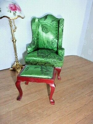 Green Wing Chair With Stool   - -    Doll House  Miniature