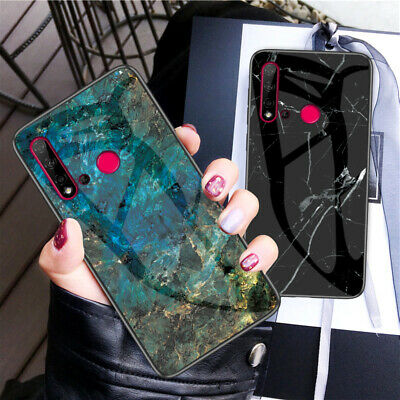For Huawei Nova 5 Pro 5i 4 4e 3 3i Cover Marble Tempered Glass Hybrid Hard Case