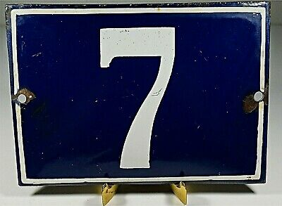Antique Industrial Traditional Blue & White Enamel Door / House Number 7