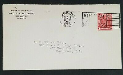 1938 Edmonton Alberta to Vancouver BC Canadian Pacific Railway Commercial Cover