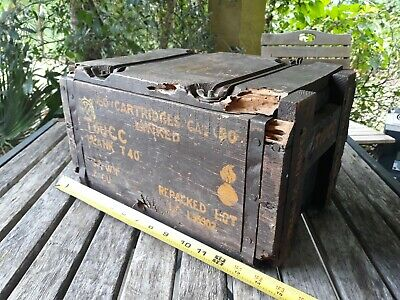Vtg Antique WWII WW2 Era .50 Cal Linked Small Arms Repack Ammo Box Wooden Case