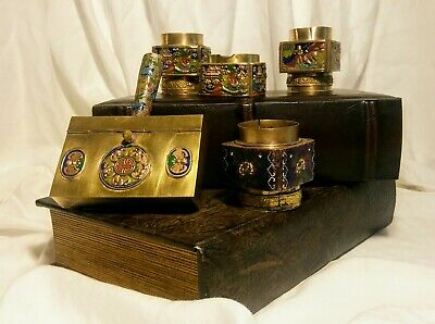 Antique Chinese Cloisonne Enamel Brass  Opium Snuff  5 piece lot. Great deal